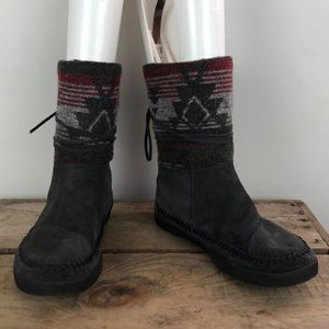 TOMS grey suede multi color boots size 6.5